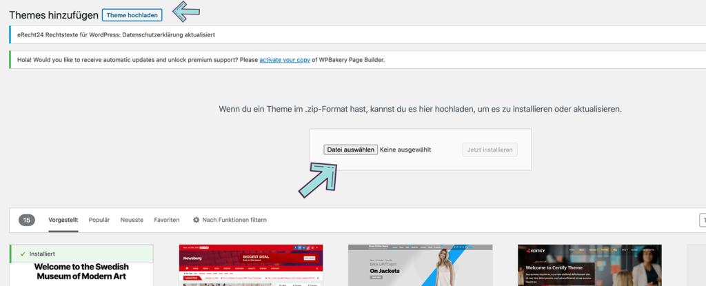 Premium WordPress Themes hochladen und installieren